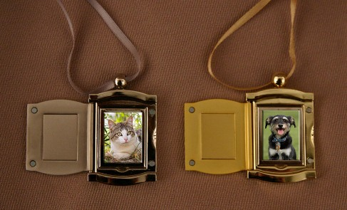 Pet Photo Frame Pendants Gold and Silver Pet Urn from Hindman Funeral Homes, Inc.